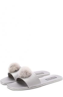 Атласные домашние туфли с отделкой из меха норки Escada