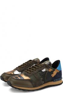 Комбинированные кроссовки Rockrunner с замшевой отделкой Valentino