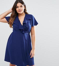 Чайное платье с оборкой Lovedrobe - Темно-синий