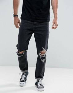 Черно-белые выбеленные джинсы с рваной отделкой Rollas - Черный