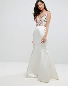 Платье макси с юбкой годе и вышивкой Jovani - Белый