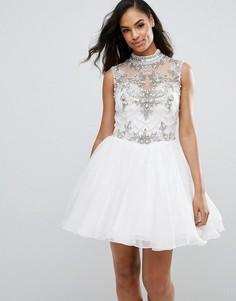 Короткое приталенное платье с отделкой Jovani - Белый