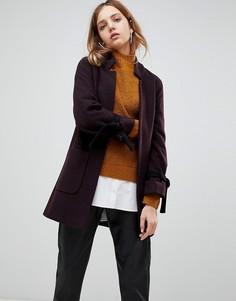 Пальто из шерсти и кашемира с завязками на манжетах Helene Berman - Фиолетовый