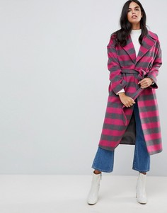 Розовое пальто в клетку с добавлением шерсти Helene Berman - Розовый