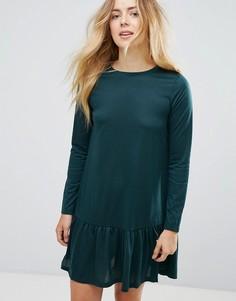 Платье мини с баской Brave Soul Moss - Зеленый