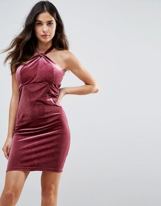 Бархатное платье мини Wyldr Isabelle - Розовый
