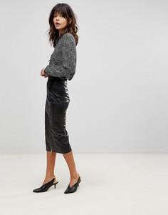 Длинная кожаная юбка-карандаш с разрезом Muubaa - Черный