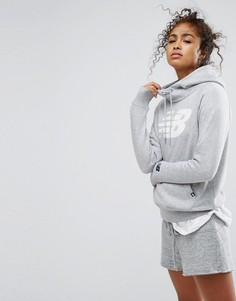Серый худи-пуловер с логотипом New Balance - Серый