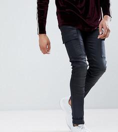 Байкерские джинсы скинни с покрытием ASOS TALL - Черный