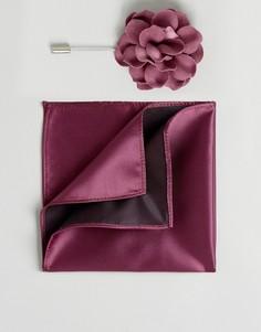 Платок для пиджака и булавка для галстука с цветочной отделкой Devils Advocate - Красный
