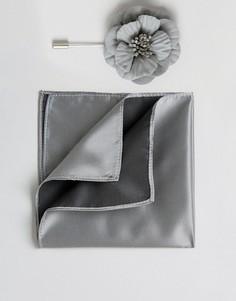 Платок для пиджака и булавка для галстука с цветочной отделкой Devils Advocate - Серый