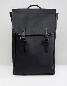 Рюкзак из искусственной кожи с двойными плечевыми ремешками ASOS - Черный