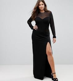 Облегающее платье макси с сетчатой вставкой TTYA BLACK Plus - Черный Taller Than Your Average