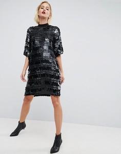 Платье мини с пайетками ASOS WHITE - Черный
