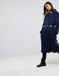 Двубортное пальто с брошью на поясе ASOS - Темно-синий