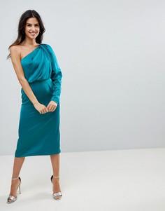 Атласное платье миди с подплечниками ASOS - Мульти