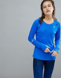 Синий лонгслив New Balance Running - Синий