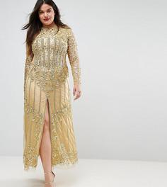 Платье макси с разрезом спереди A Star Is Born Plus - Золотой