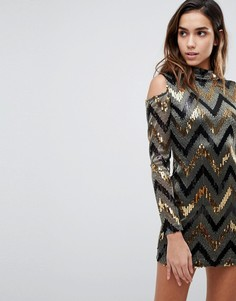 Вечернее платье с пайетками и вырезами на плечах AX Paris - Золотой