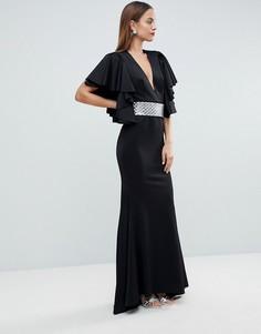 Платье макси с глубоким вырезом, оборками и съемным поясом ASOS EDITION - Черный