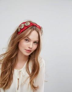 Широкая повязка на голову с отделкой Johnny Loves Rosie - Красный