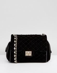 Бархатная сумка через плечо с жемчужной отделкой Marc B Knightsbridge - Черный