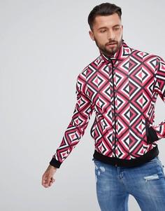 Спортивная куртка с красным ромбовидным принтом Jaded London - Красный