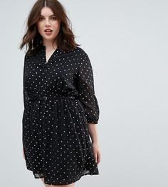 Платье с блестящими звездочками и ремнем Yumi Plus - Черный