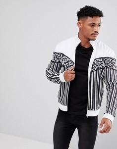 Белая спортивная куртка с полосками и шевронным принтом Jaded London - Белый