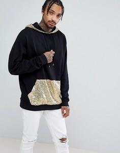 Oversize-худи удлиненного кроя с золотистыми пайетками на капюшоне и кармане ASOS - Черный