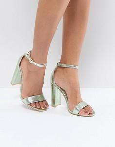 Зеленые босоножки на блочном каблуке с эффектом металлик Glamorous - Синий