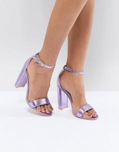 Фиолетовые босоножки на каблуке с эффектом металлик Glamorous - Синий