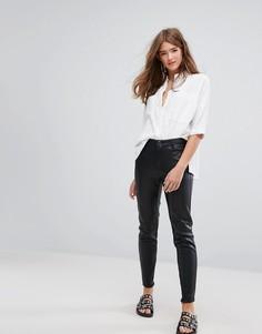 Зауженные джинсы из искусственной кожи Pimkie - Черный