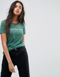 Зауженный топ Calvin Klein Jeans - Зеленый
