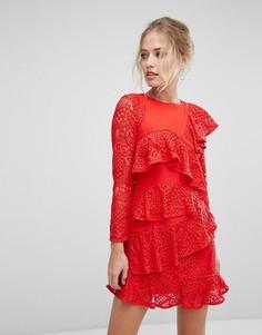 Платье мини с длинными рукавами и оборками Aijek - Красный