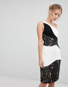 Платье-футляр миди на одно плечо с монохромной кружевной отделкой Aijek - Мульти