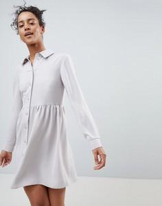Свободное платье-рубашка мини ASOS - Серый
