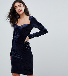 Бархатное облегающее платье с квадратным вырезом Vero Moda Tall - Темно-синий