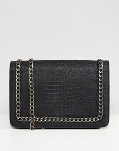 Оверсайз-сумка через плечо из искусственной крокодиловой кожи с ремешком-цепочкой ASOS - Черный