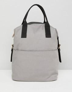 Парусиновый рюкзак с молнией и двумя ручками ASOS - Серый