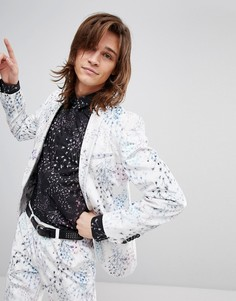 Бархатный супероблегающий пиджак с принтом Noose & Monkey - Белый