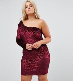 Бархатное облегающее платье на одно плечо с леопардовым принтом NaaNaa Plus - Красный