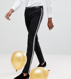 Супероблегающие брюки с заклепками по бокам Noose & Monkey TALL - Черный