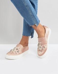 Атласные кроссовки-слипоны с искусственным жемчугом New Look - Розовый
