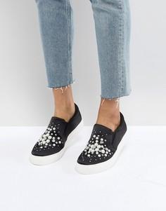 Атласные кроссовки-слипоны с искусственным жемчугом New Look - Черный