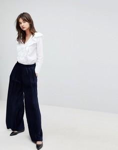 Бархатные плиссированные брюки с широкими штанинами J.O.A - Темно-синий