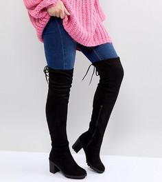 Ботфорты для широкой стопы на рифленой подошве и каблуке New Look - Черный