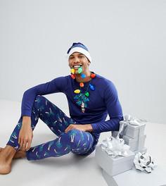 Новогодний пижамный комплект с шапкой Off-Duty - Темно-синий