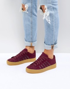 Бордовые кроссовки на резиновой подошве K-Swiss Court Frasco - Красный