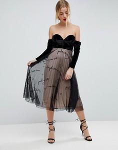 Бархатное платье миди с юбкой из тюля и вышивкой ASOS - Черный